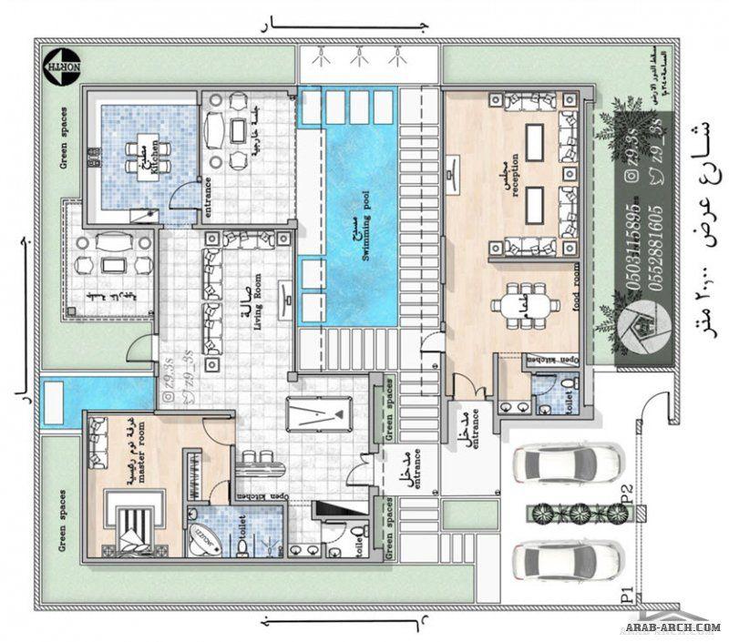 تصميم شاليه مودرن بالمدينة 304 متر مربع من أعمال المهندس يحيى زنقوطي Square House Plans House Layout Plans Classic House Exterior