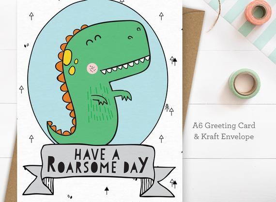 Personalised Roarsome Birthday Card Dinosaur Boy Son Brother Grandson Nephew