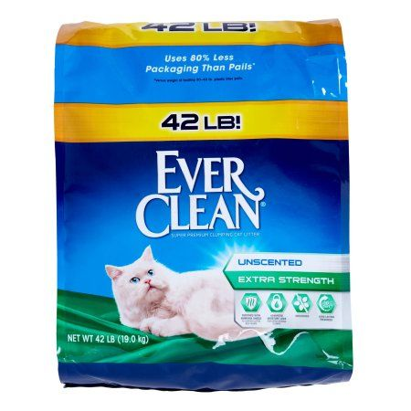 Ever Clean Unscented Extra Strength Premium Clumping Cat Litter, 42 Pound, Multicolor