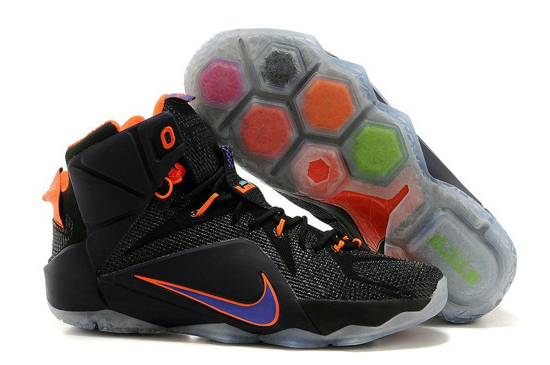 4af8556b4e419 Nike Brand Black with Orange and Purple Colorway Mens King LeBron James 12  Sneakers. WMNS LeBron 12 GS Instinct Black Purple Total Orange