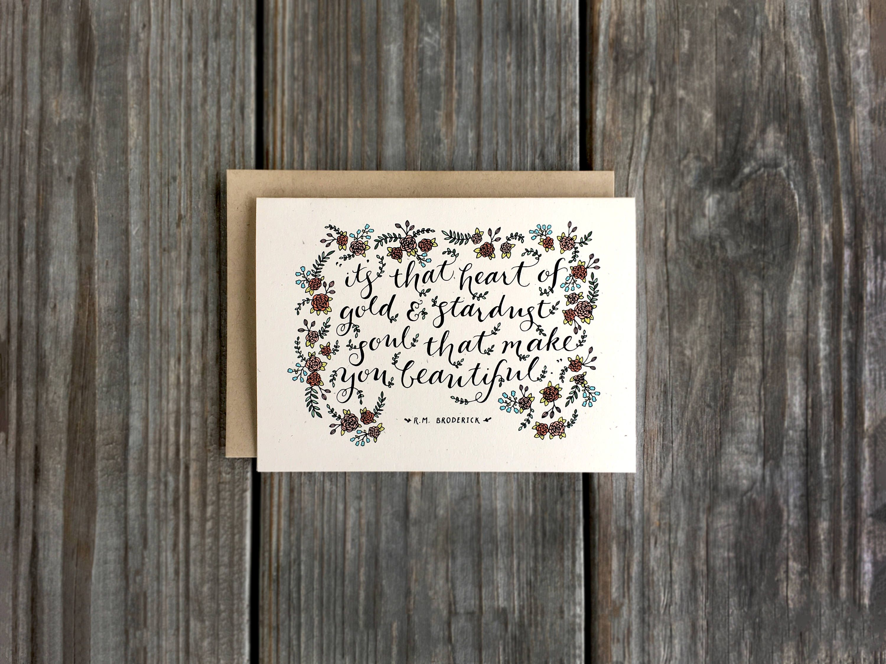 Heart of gold card beautiful quote card rm broderick