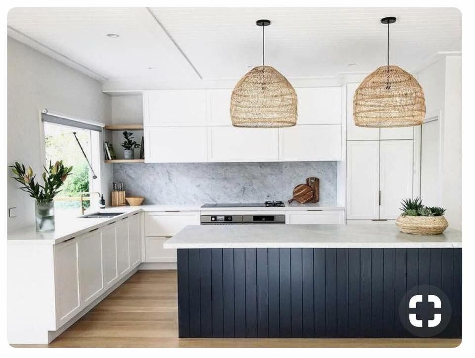 Kitchen With Vertical Shiplap Island Painted In Blue Woven Rattan Pendant Lights And Open Shel Contemporary Kitchen Contemporary Kitchen Design Kitchen Design