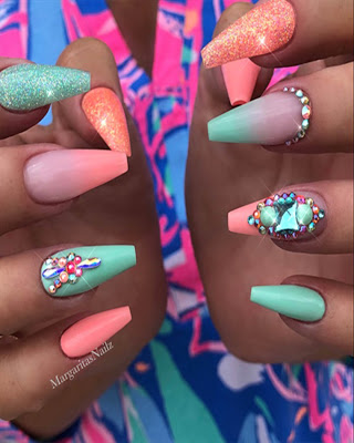 summer coffin nails design with glamor  coffin nails
