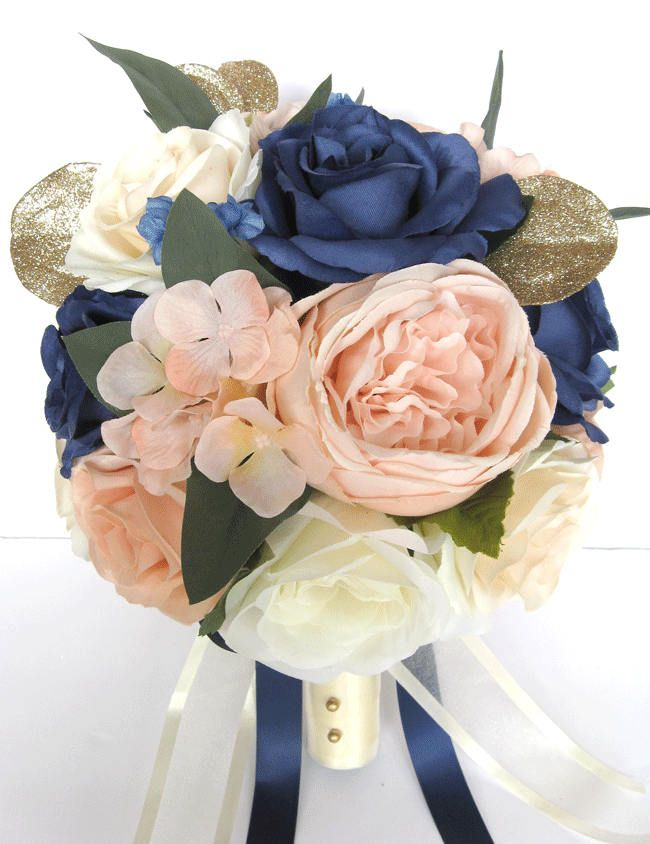 17 piece wedding bouquet package bridal bouquets artificial silk 17 piece wedding bouquet package bridal bouquets artificial silk flowers peach blush navy blue cream gold mightylinksfo