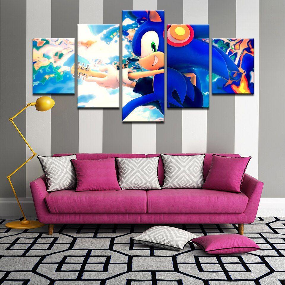 5 Pcs Nice Sonic The Hedgehog Cartoon Poster Canvas Art
