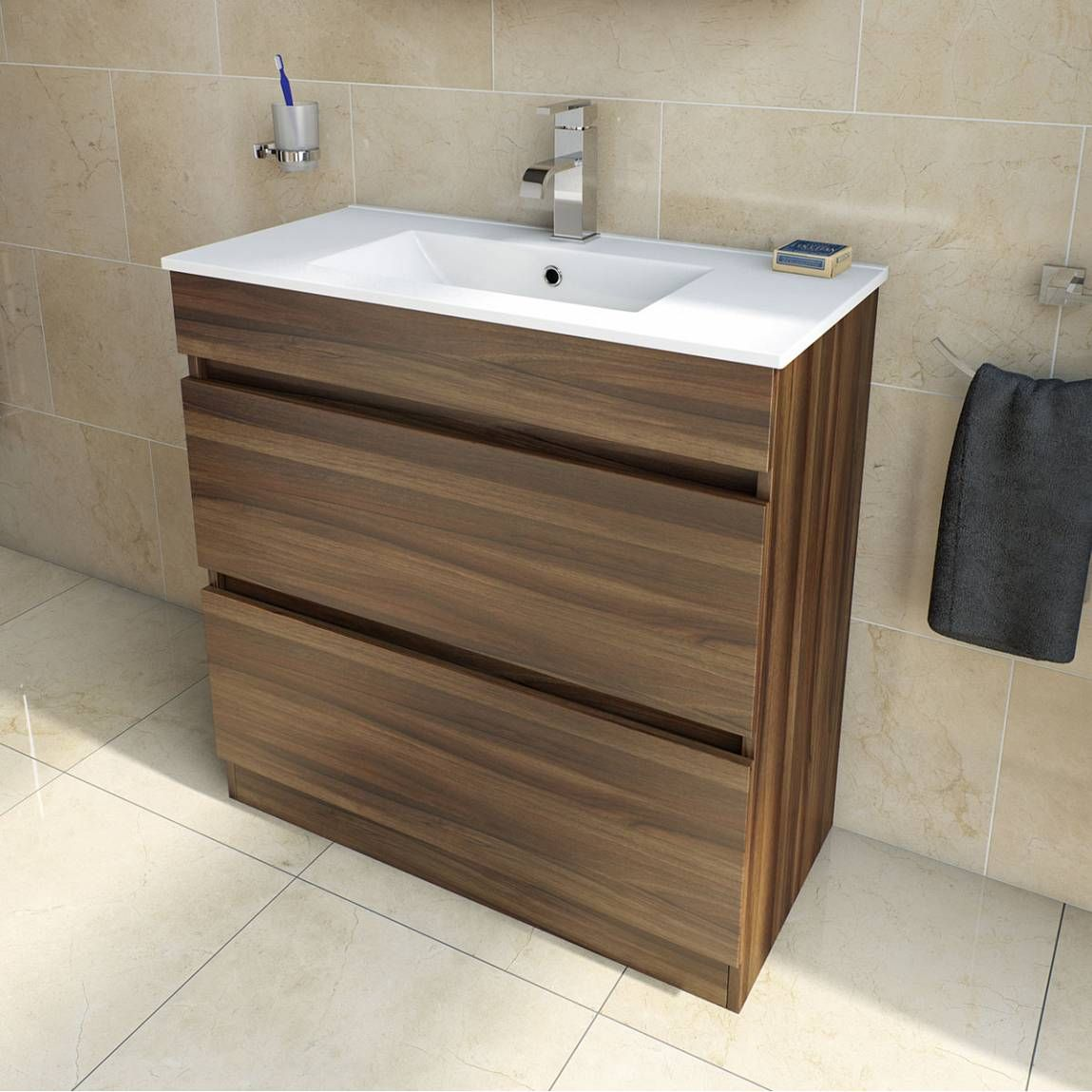 Plan Walnut Floor Mounted 800 Drawer Unit Inset Basin Victoria Plumb New Bathroom