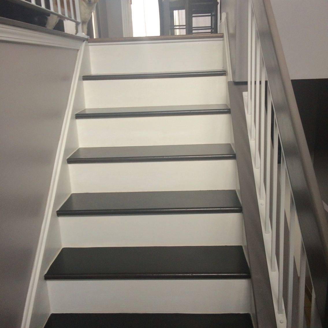 Painted Stairs Raised Ranch With Painted Stairs Espresso Paint By Rustoleom