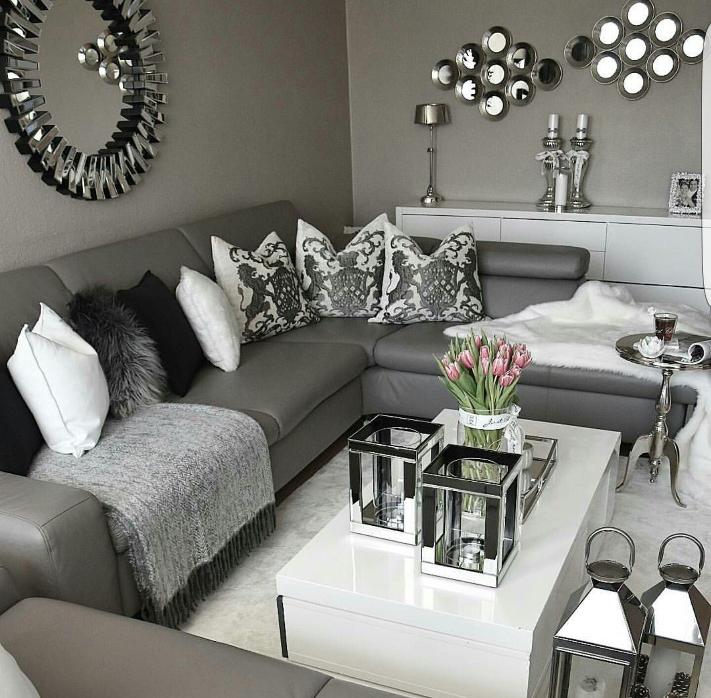 surprising black grey living room ideas | @enticemedear ♔ | ♡ POSH HOME in 2019 | Silver living room ...