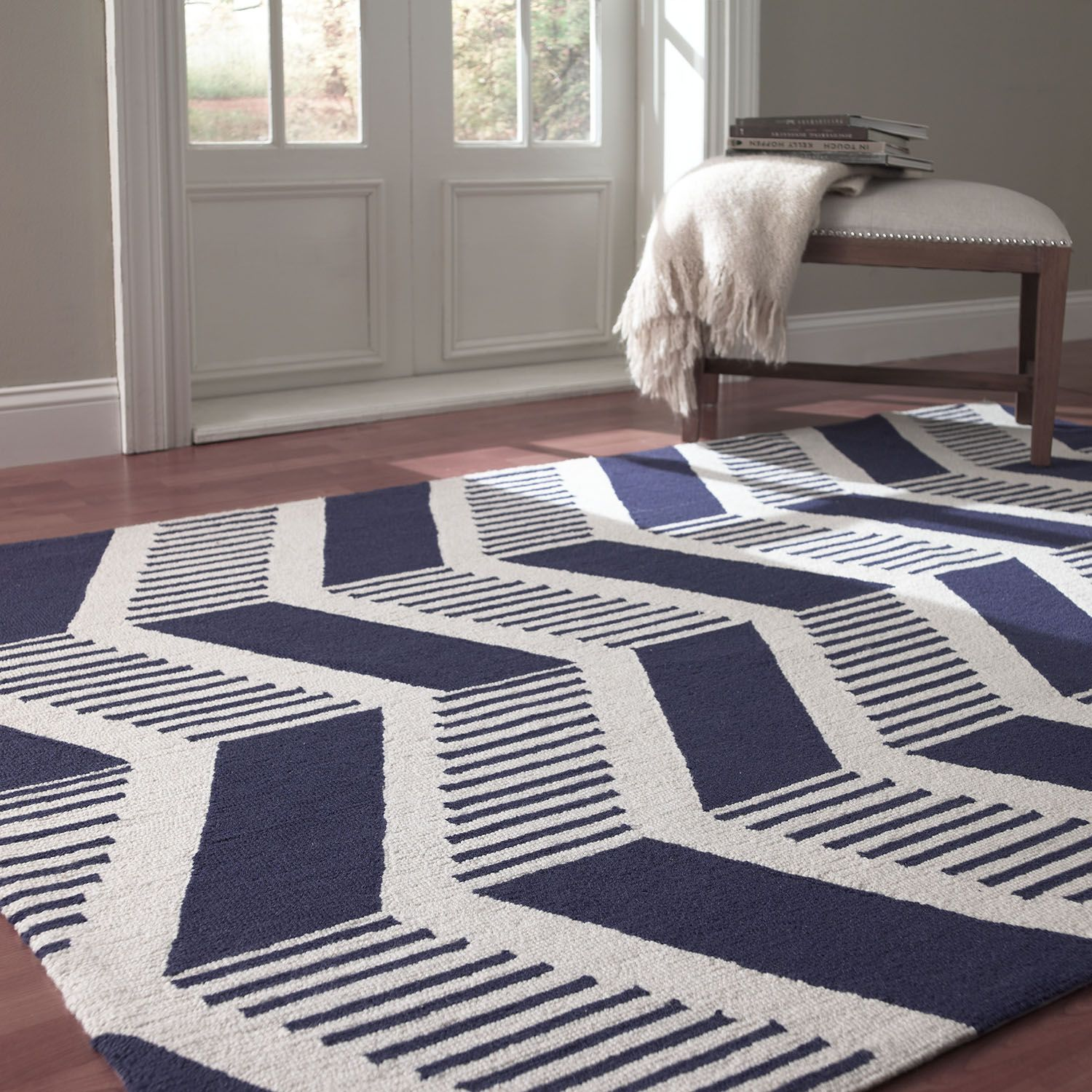 Rugs Usa Chevron Navy Modern Stripes Wool Are Rugs