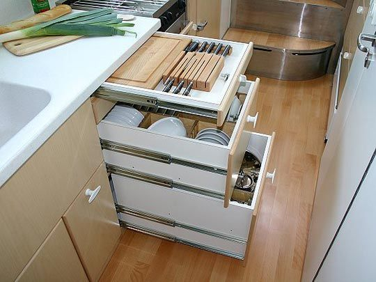 Look! Small Space Living...In a Garbage Truck | Kitchen drawers ...