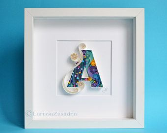 Letter C Quilling Wall Paper Art Custom Paper Art C Monogram Framed Personalized Gift Quilling Art Design Decor Gift Birthday In 2020 Paper Art Custom Paper Quilling