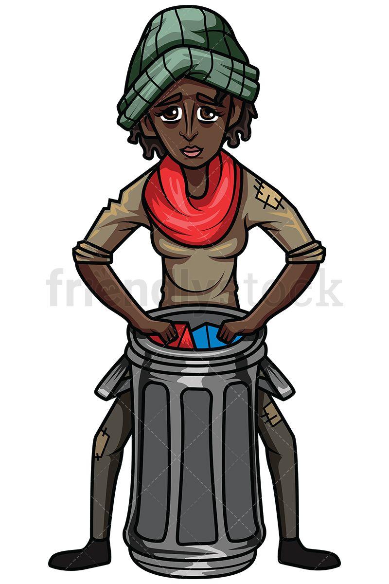 Black Woman Looking For Food In Trash Vector Cartoon Clipart Friendlystock Cartoon Clip Art Black Women Looking For Women