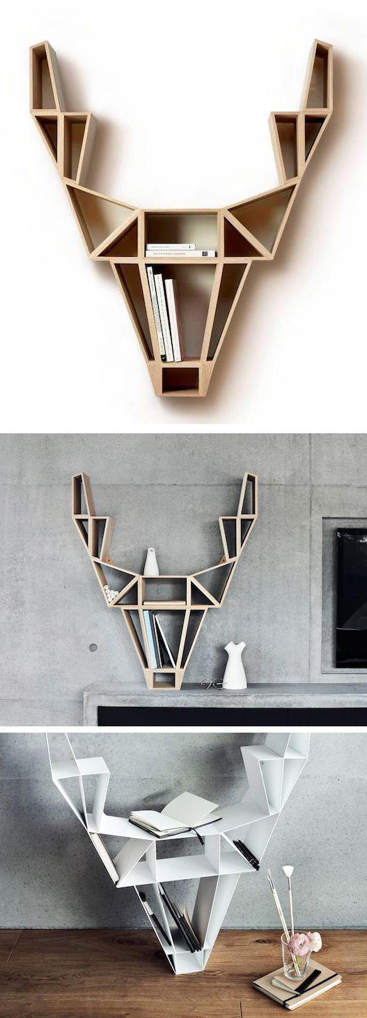Geometric deer head bookshelf design regal for Ausgefallene mobel