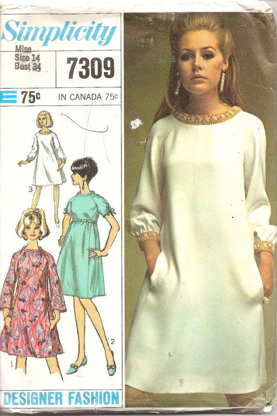 1960s Vintage Sewing Pattern - 1960s Tent Dress - Simplicity 7309 ...