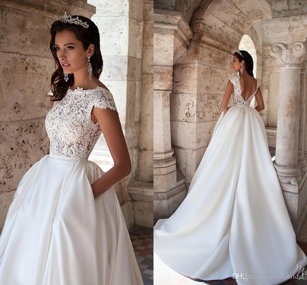 Discount Modest Wedding Dresses Lace Top Cap Sleeve Backless With Pockets Bateau Neck Ruffles Satin 2017 Spring Garden Plus Size Bridal Wedding Gowns Slim A Lin Lace Top Wedding Dress Modest