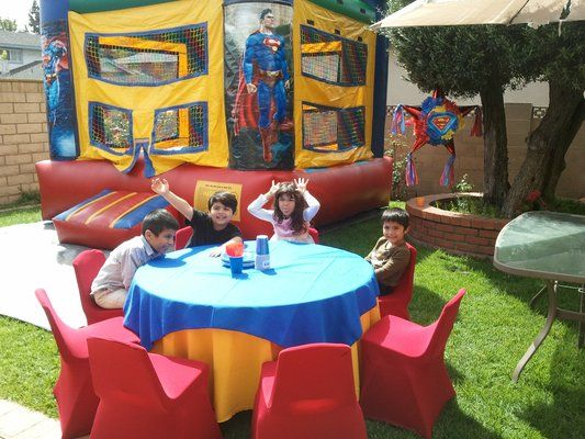 Superman Theme Birthday Party Table Set Up Decoration