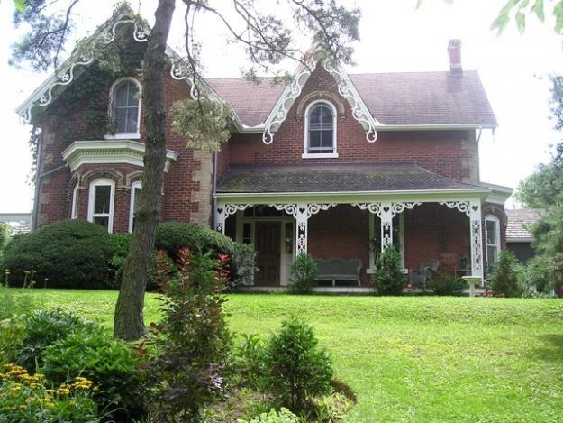 Old Gothic Revival Victorian Farmhouse Circa 1850 In Lynden Ontario Canada