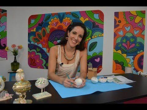 huevos de avestruz decorados y pintados a mano decoracion huevos avestruz figuras 3d reloj - YouTube
