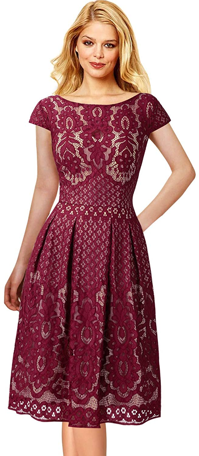Vfshow Womens Boat Neck Floral Lace Pockets Pleated Cocktail Party A Line Dress 1623 Red 3xl Clothing A Line Dress Red Cocktail Dress Dresses [ 1500 x 655 Pixel ]