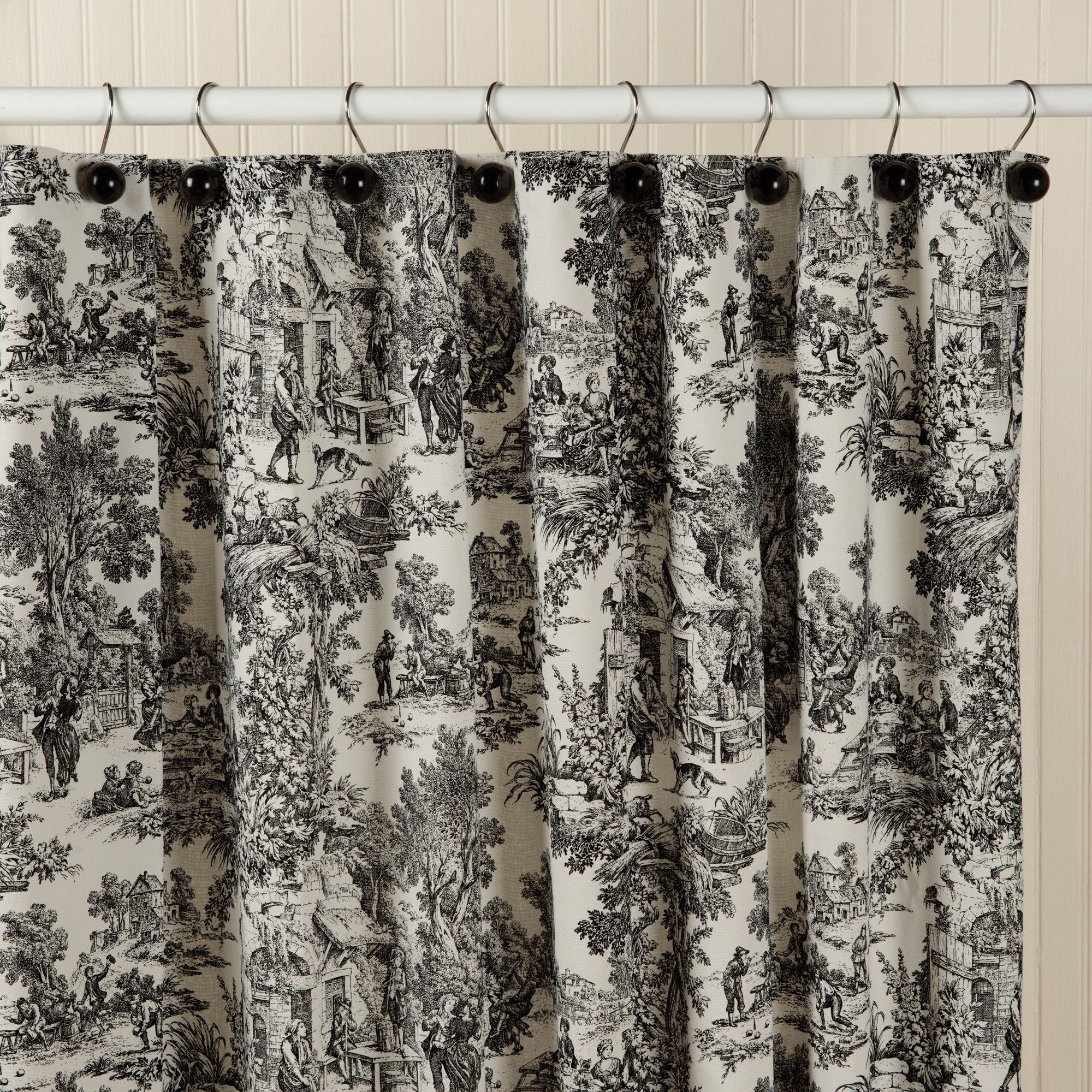 Waverly Black And White Toile Shower Curtain