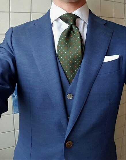 6813a4822bd5 Patterned green tie and a blue suit. | Green Ties & Neckties | Blue ...