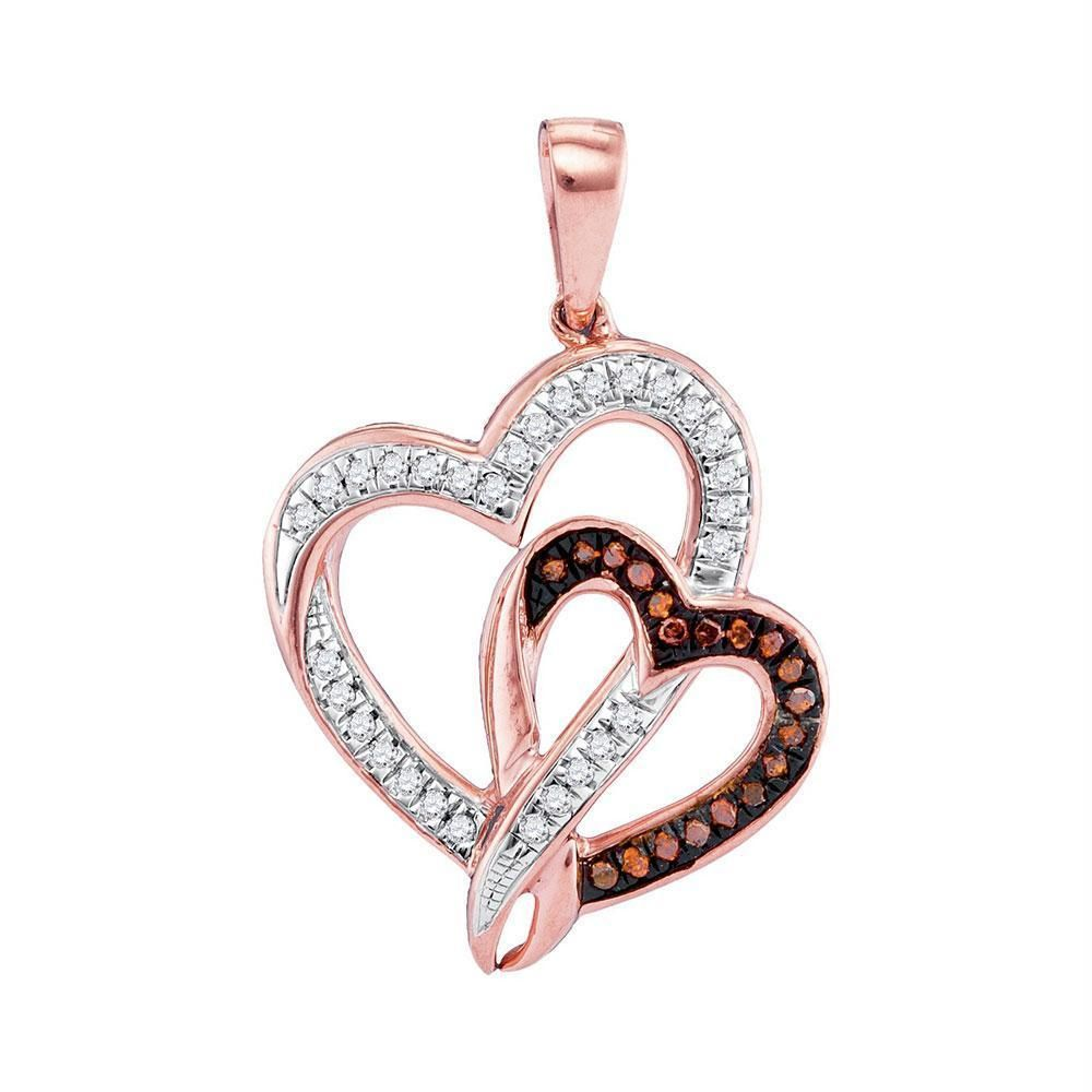 10kt Rose Gold Women's Round Red Color Enhanced Diamond Double Heart Pendant 1-6 Cttw - FREE Shipping in North America