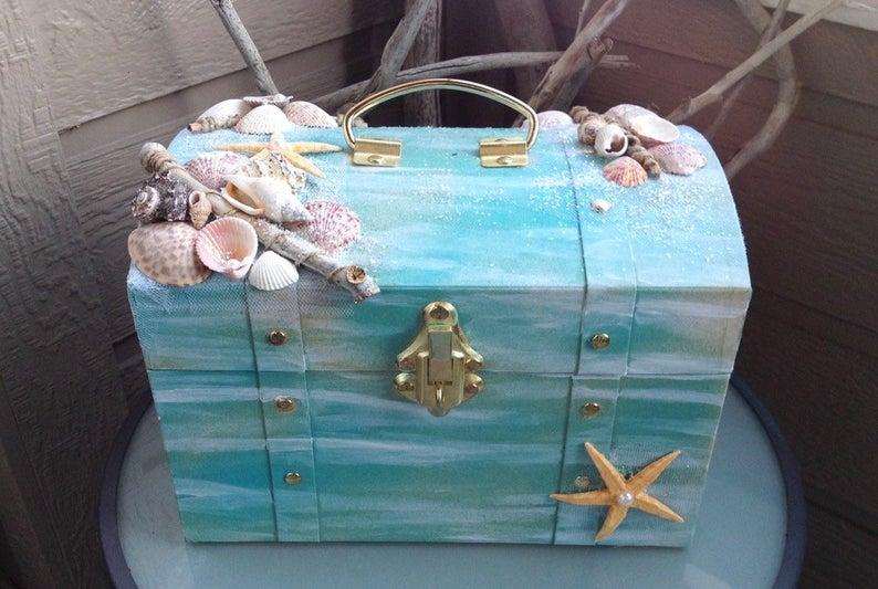 Photo of STUNNING Wedding card box for BEACH WEDDING, Nautical decor, Envelope holder, Mermaid box, Treasure chest
