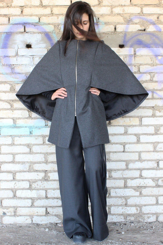 Gray cashmere coat women gray wool coat wool cloak