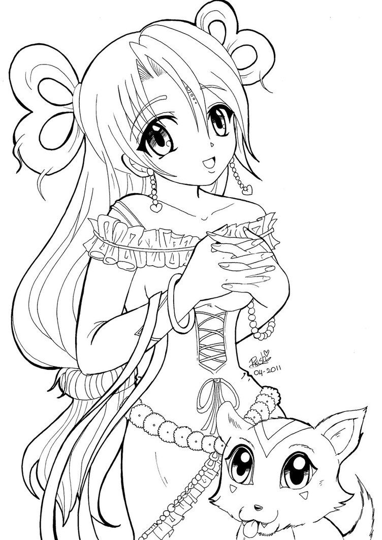 Nice cute anime kitten coloring pages free download - Adult manga 2 ...