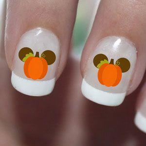 Thanksgiving Mickey Mouse Pumpkin Ears Nail Art Water Transfer Decal - Waterslide Paper - Water Slide Paper