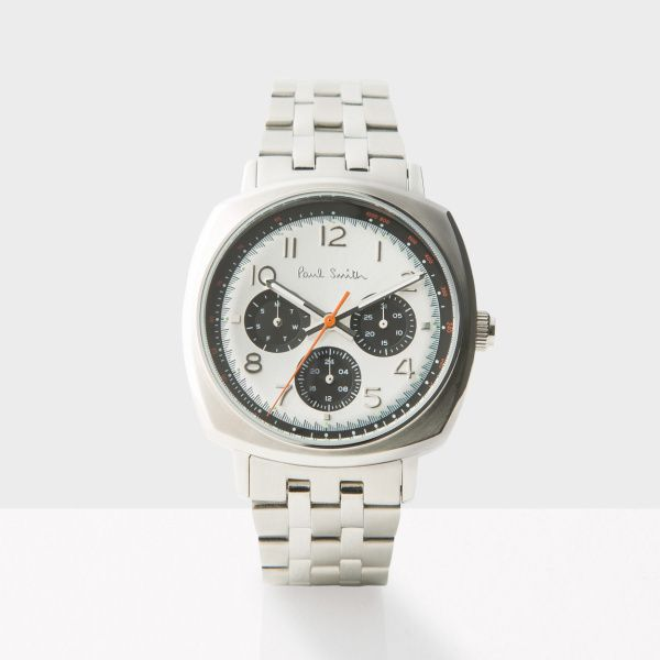 paul smith men s white and silver atomic watch mens watches paul smith men s white and silver atomic watch