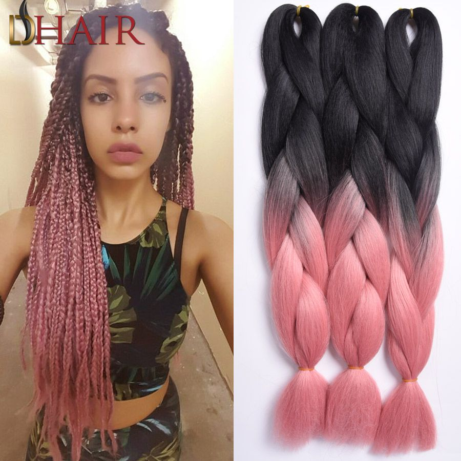 most favored natural black/pink braiding hair 24inch silky