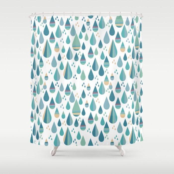 Blue Rain Drop Shower Curtain