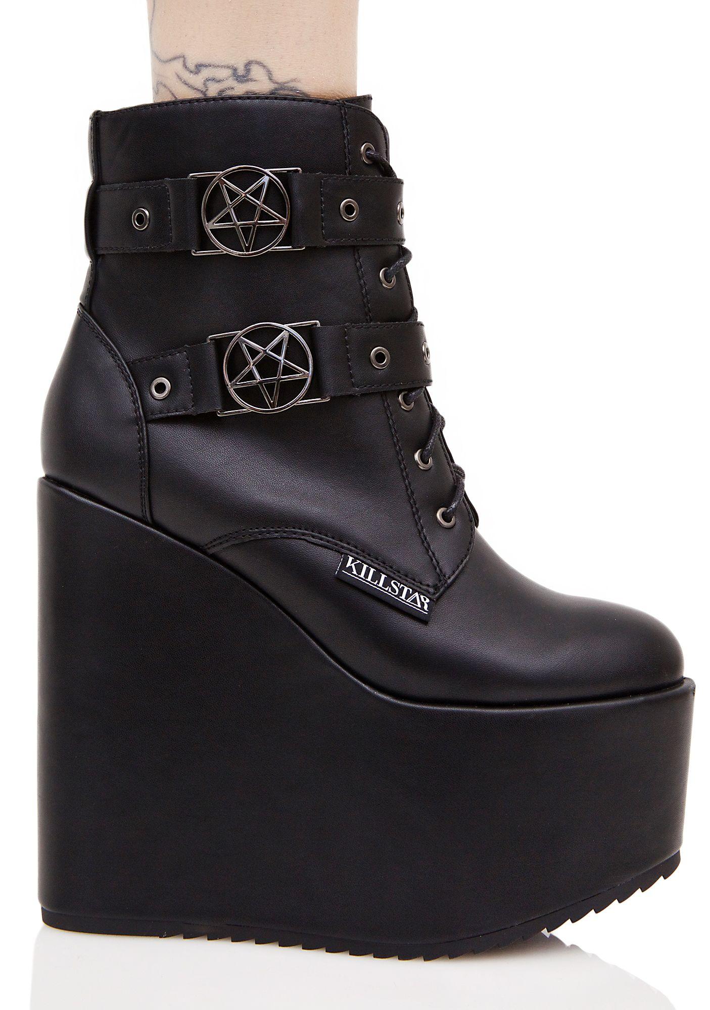 dccf9a80c7b Killstar Sabitha Pentagram Platform Wedge Booties Goth Platform Shoes