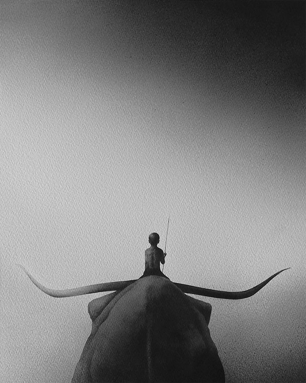 Художница Elicia Elidanto чёрно-белая акварель