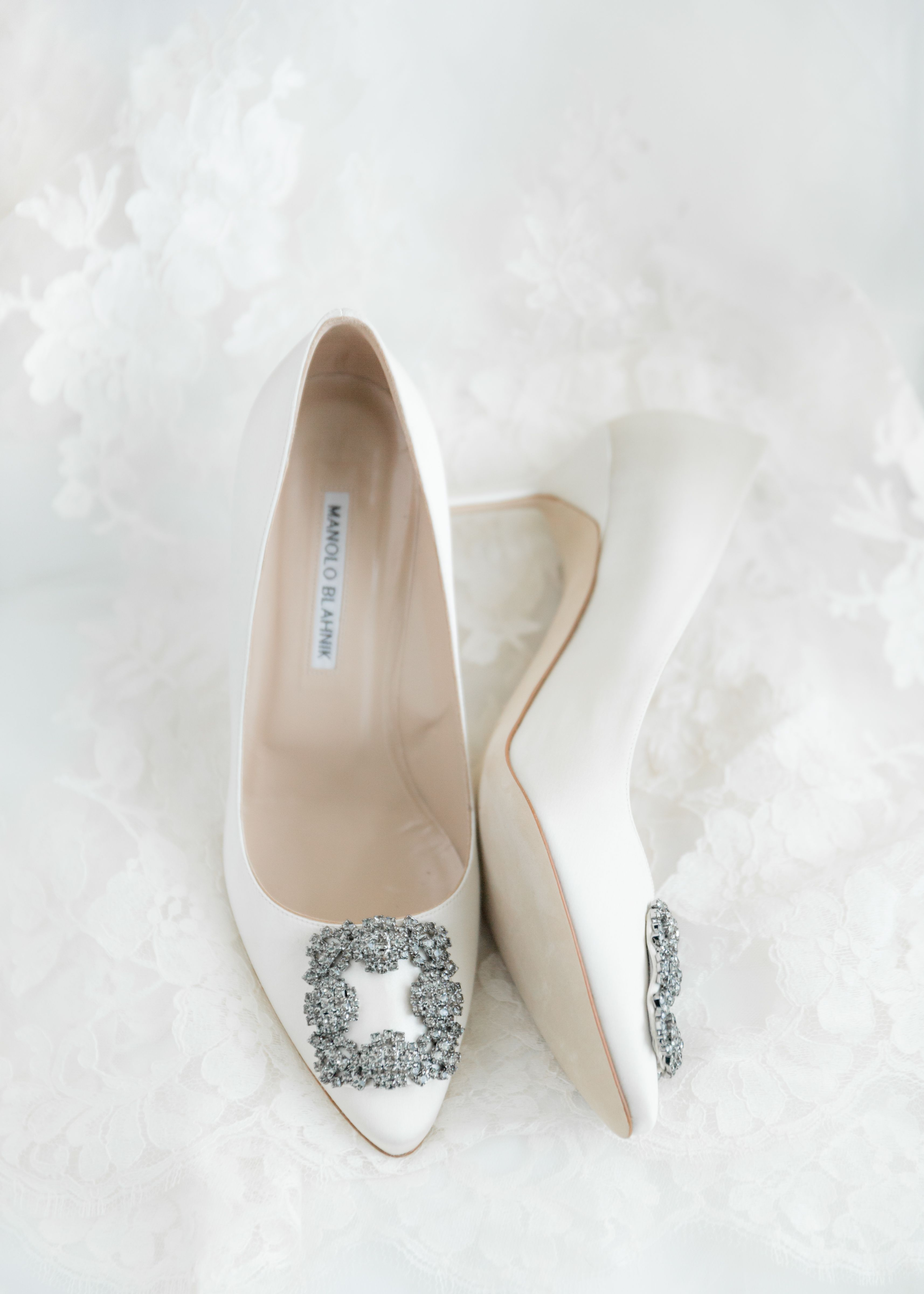 Classic white satin and rhinestone wedding shoes pumps by