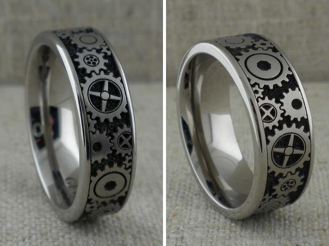 Gear Wedding Ring In Titanium Unique Titanium Wedding Rings Titanium Wedding Rings Wedding Rings Custom Wedding Rings