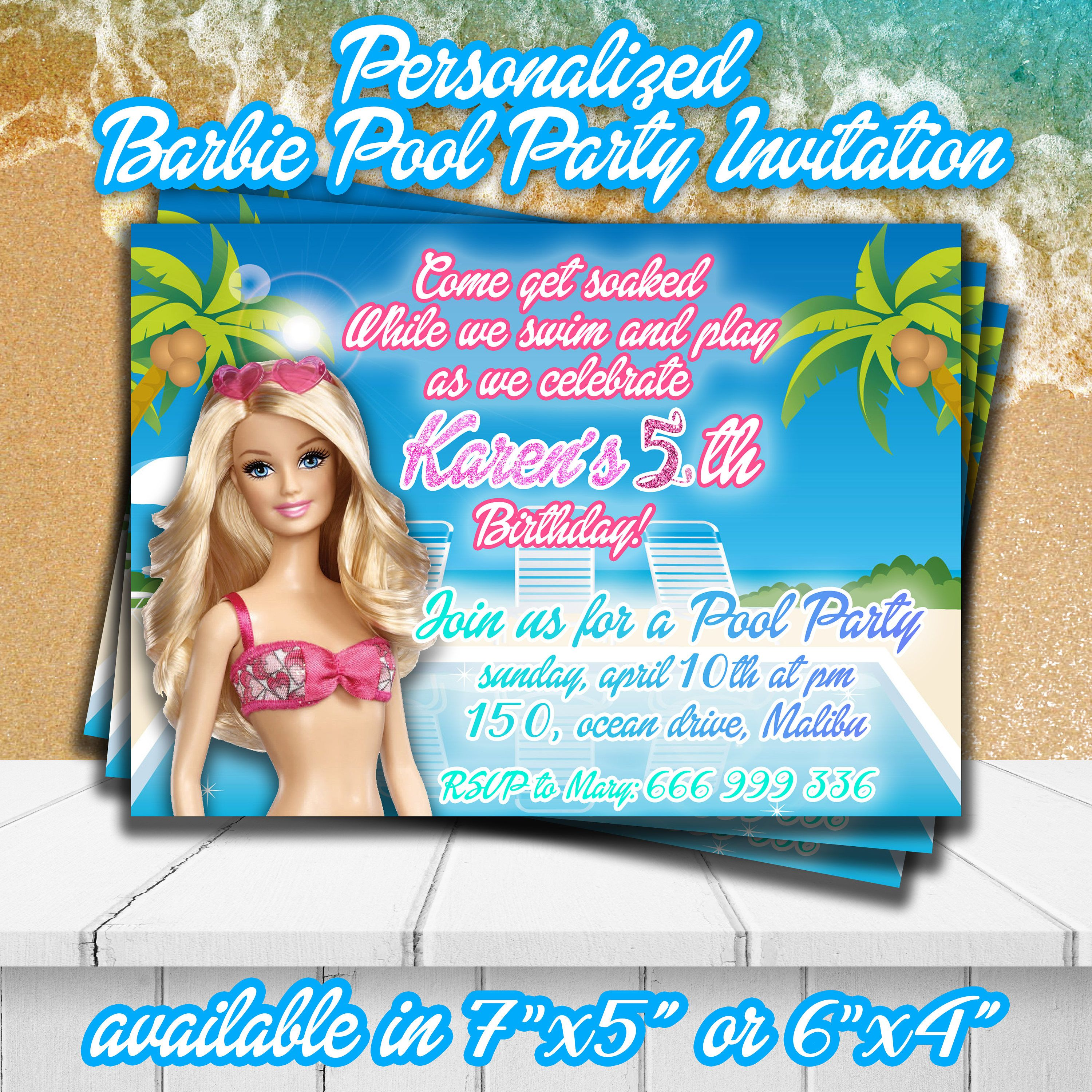 BARBIE POOL party INVITATION,Barbie party invite,Personalized ...