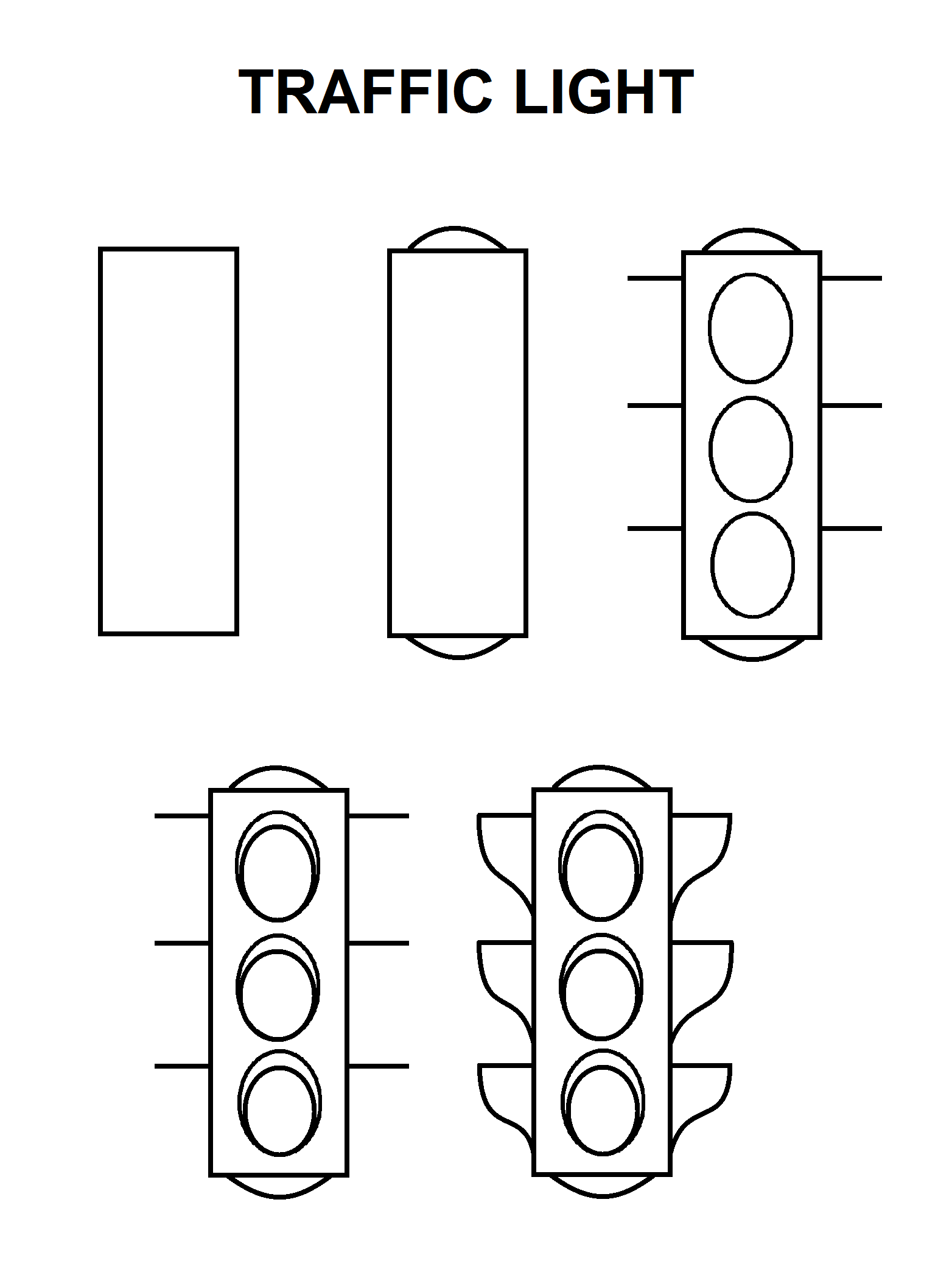Step By Step To Draw A Traffic Light