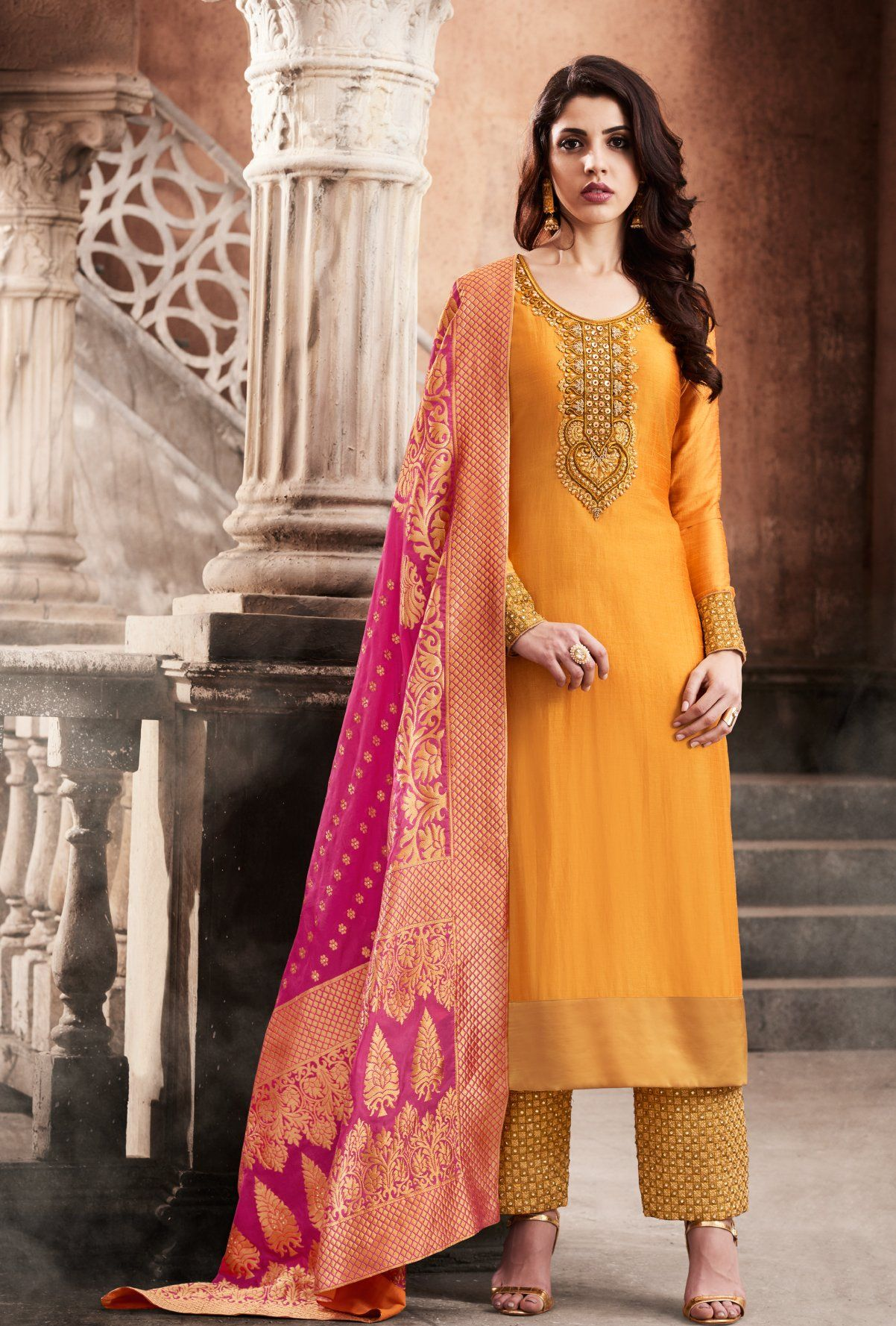 c10c143b155 Yellow And Pink Designer Embroidered Suit