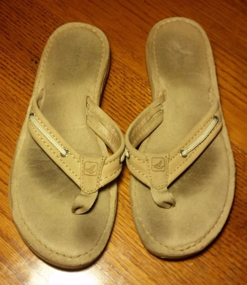 dc5f90b6e472aa Sperry Top-Sider Brown Tan Leather Flip Flops Thongs Sandals~Size 8~Boat  Shoes