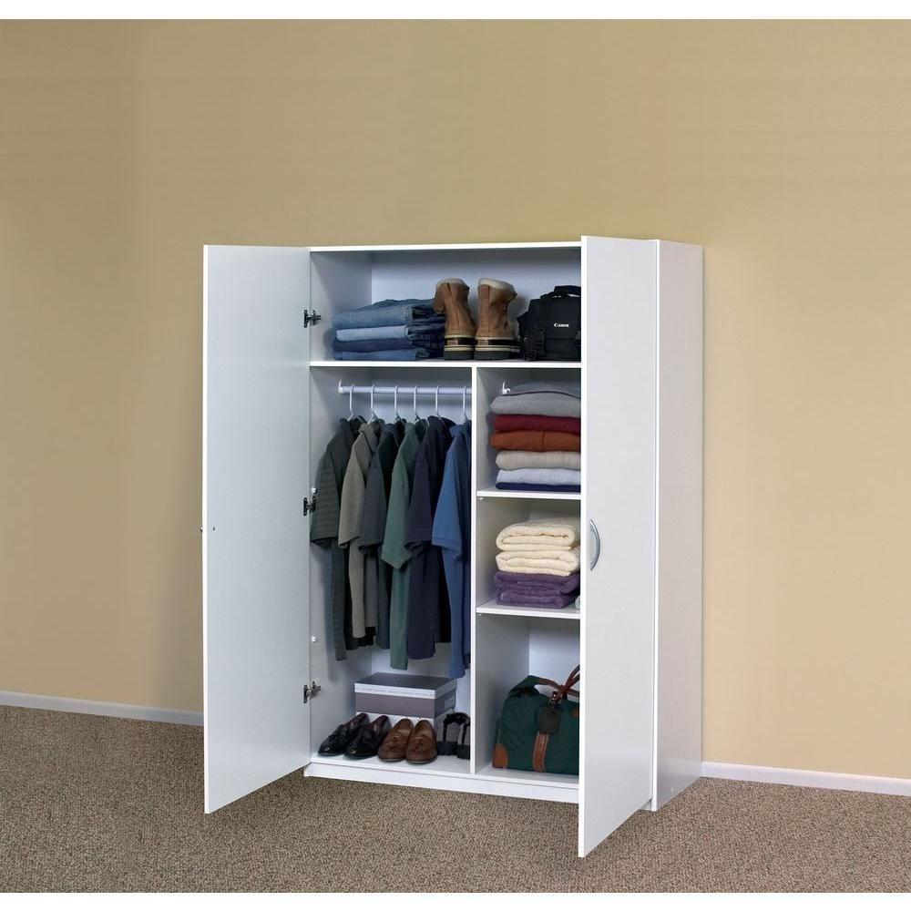 Closetmaid 48 In Multi Purpose Wardrobe Cabinet In White 12336 The Home Depot Wardrobe Cabinets Closet Furniture Portable Wardrobe