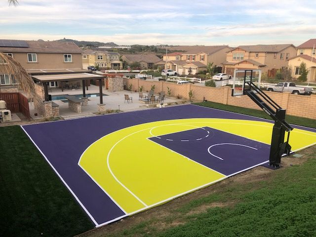 47 Beautiful Basketball Courts Ideas, Outdoor Basketball Court Paint Ideas