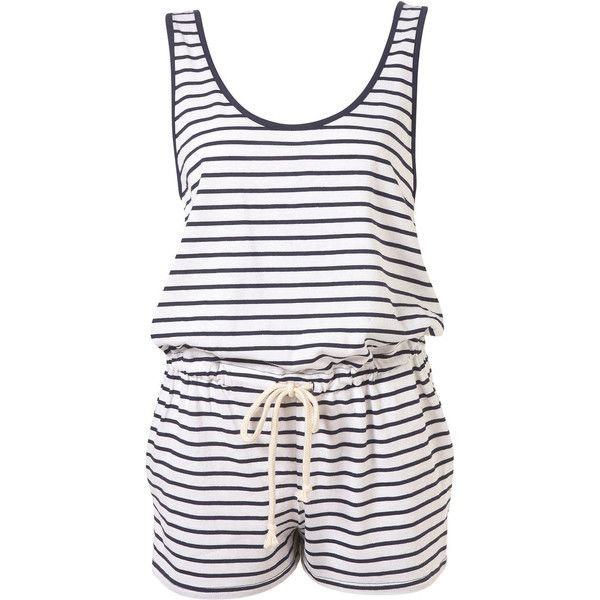 ff6d6771ead Navy Stripe Knot Back Playsuit ( 30) ❤ liked on Polyvore featuring jumpsuits