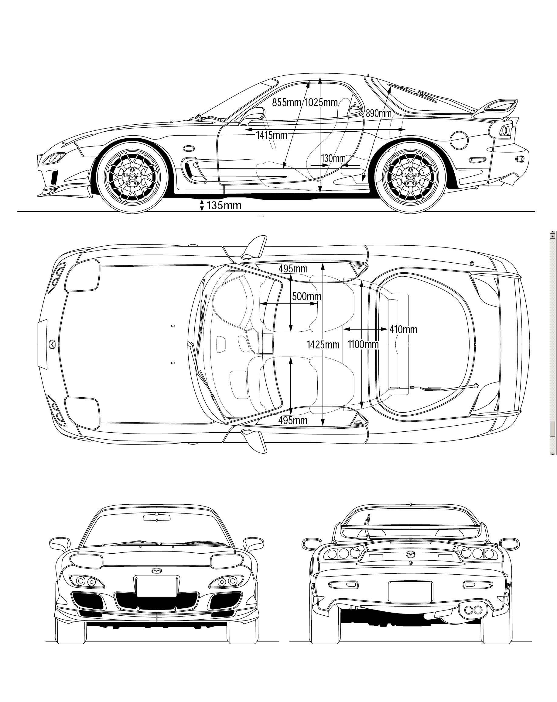 Mazda RX-7 FD blueprint | 车三视图 | Mazda, Jdm cars, Nissan r32