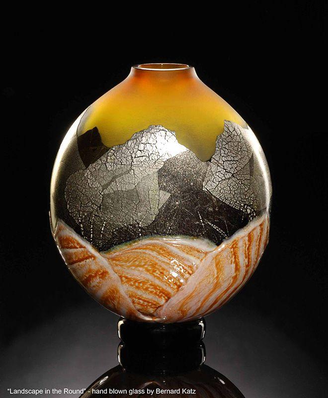 Landscape Glass Vase By Bernard Katz Hand Blown Glass Vase Shown In