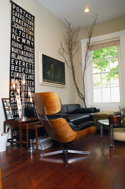 Eames Lounge Chair Clean Mid Century Modern Tree Branch Decor