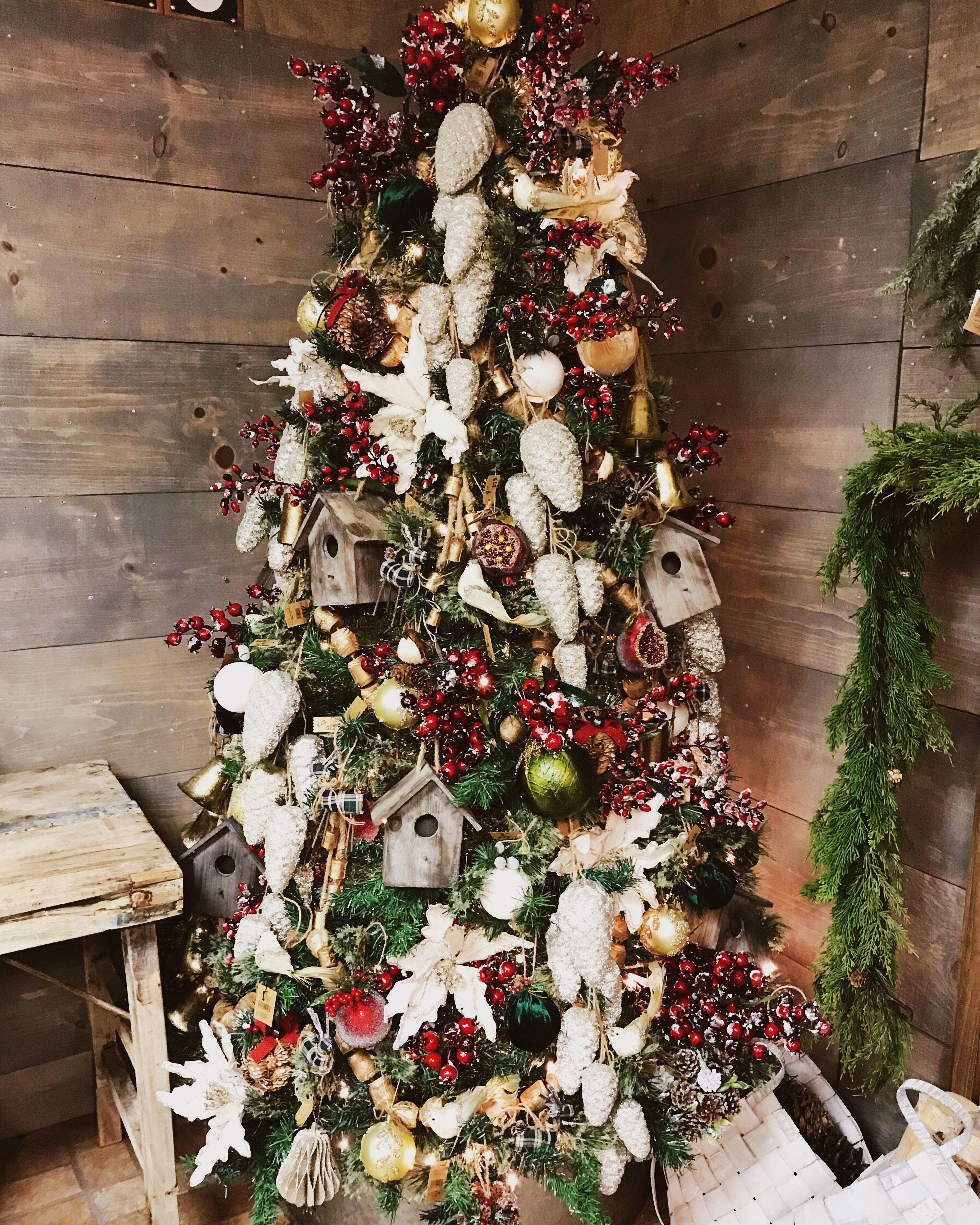 Farmhouse christmas tree decor with birdhouses beaded