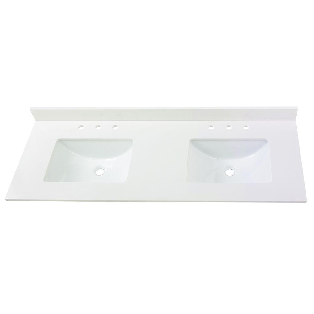 Home Decorators Collection 61 In W Engineered Marble Double Sink