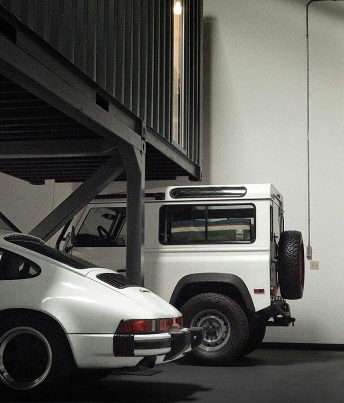 Porsche 930 And Defender Land Rover Defender Dream Garage Garage